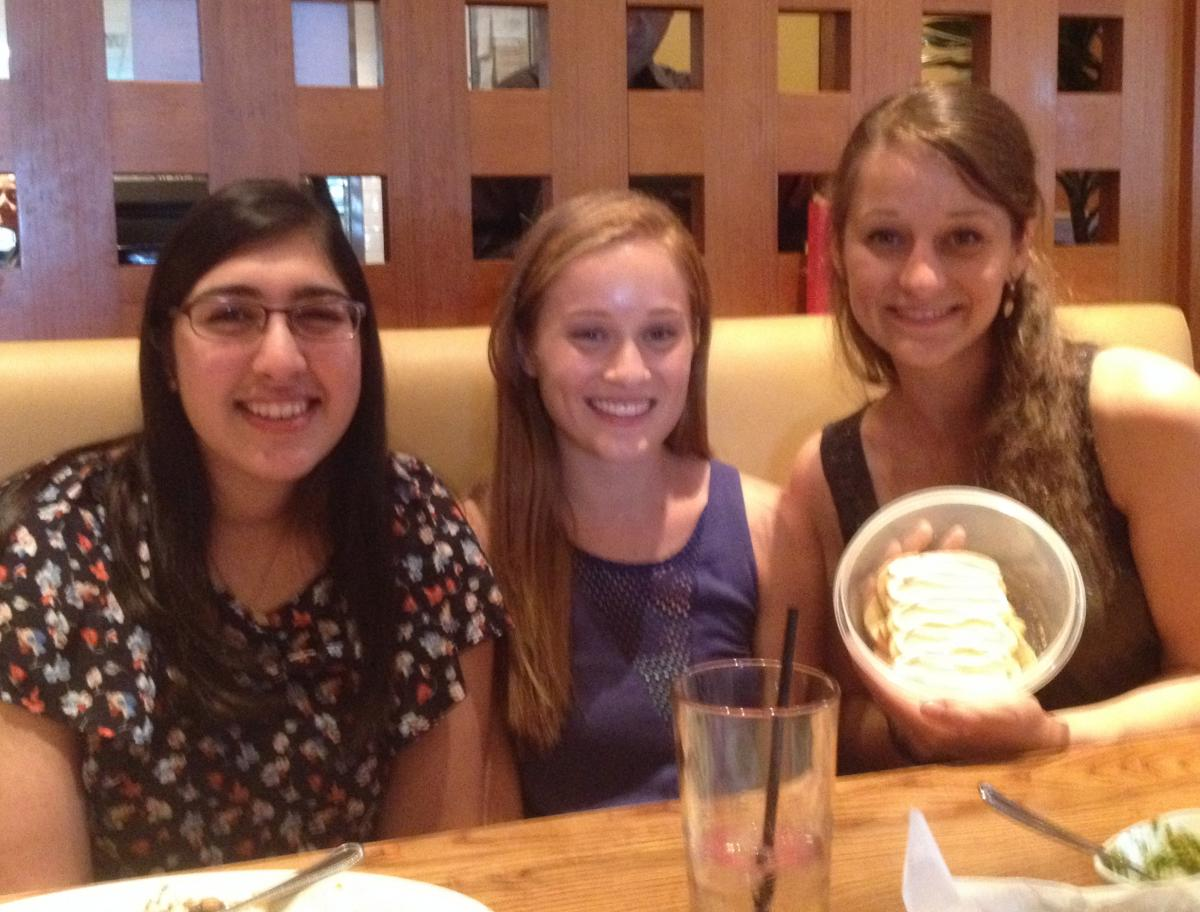 Jinal, Julianne & Emily with SMA Cookies at Grad Dinner (2014)